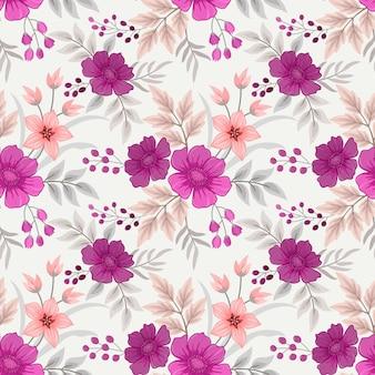 Kolorowe ręcznie rysować kwiaty wzór na tapetę z tkaniny.