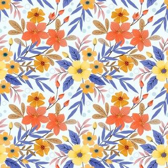 Kolorowe ręcznie rysować kwiaty wzór tapety tkaniny tekstylne.
