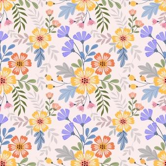 Kolorowe ręcznie rysować kwiaty wzór