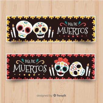 Kolorowe, ręcznie rysowane banery día de muertos