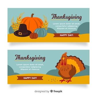 Kolorowe ręcznie rysowane banery dziękczynienia