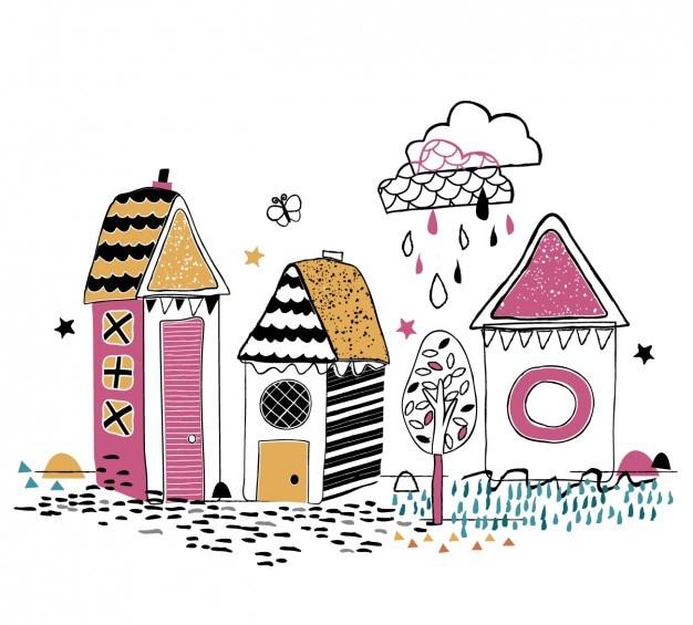 Kolorowe ręcznie rysowane domy