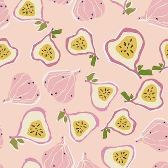 Kolorowe, ręcznie rysowane figi wzór