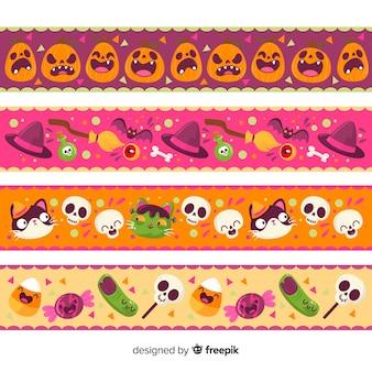 Kolorowe, ręcznie rysowane granice na halloween