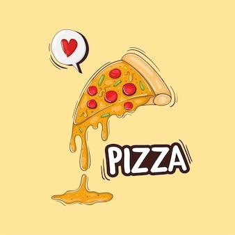 Kolorowe ręcznie rysowane ilustracja kawałek pizzy