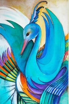 Kolorowe ręcznie rysowane ilustracji łabędź