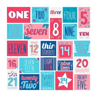Kolorowe, ręcznie rysowane kalendarz adwentowy