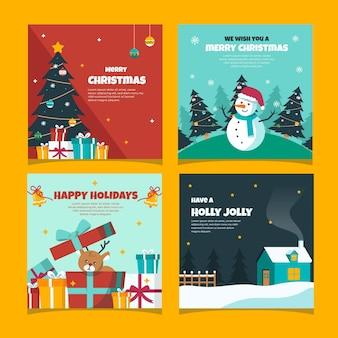 Kolorowe ręcznie rysowane kartki świąteczne
