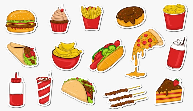 Kolorowe ręcznie rysowane kolekcja naklejek fast foodów