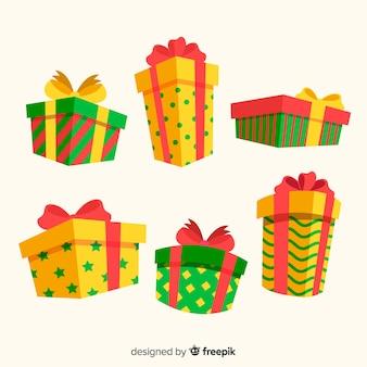 Kolorowe ręcznie rysowane kolekcja prezentów świątecznych