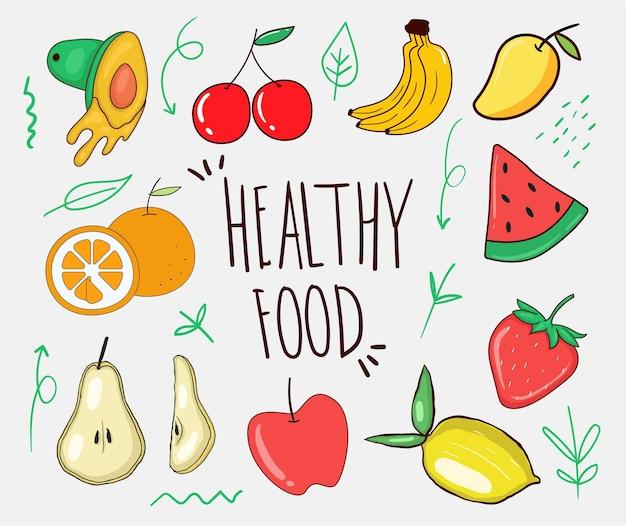Kolorowe ręcznie rysowane kolekcja zdrowej żywności