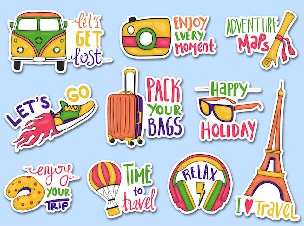 Kolorowe ręcznie rysowane kolekcji naklejek podróży