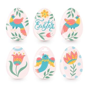 Kolorowe ręcznie rysowane kolekcji ozdobnych pisanek