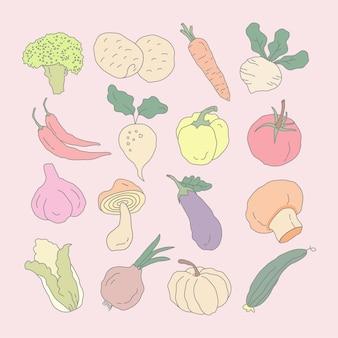 Kolorowe ręcznie rysowane kreskówka kolekcja warzyw
