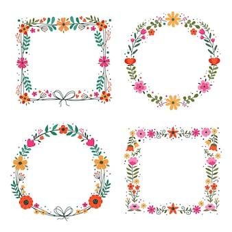 Kolorowe ręcznie rysowane kwiatowy ramki