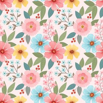 Kolorowe ręcznie rysowane kwiaty wzór. tapeta tkanina tekstylna.