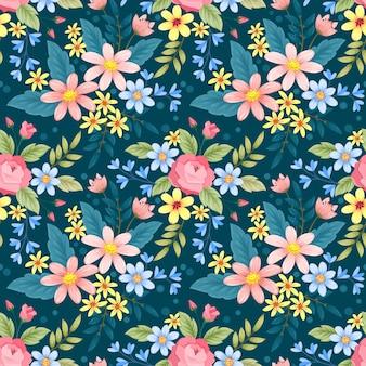 Kolorowe ręcznie rysowane kwiaty wzór