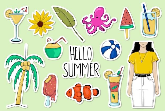 Kolorowe ręcznie rysowane lato kolekcja naklejek