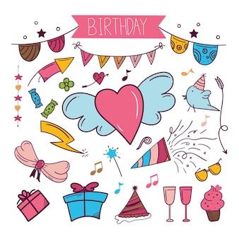 Kolorowe ręcznie rysowane naklejki z okazji urodzin w stylu doodle