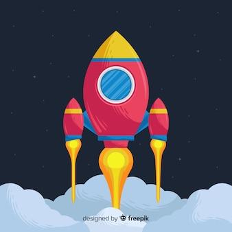 Kolorowe ręcznie rysowane rakiety