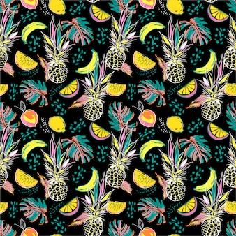 Kolorowe ręcznie rysowane szkic letnie owoce