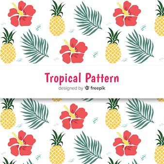 Kolorowe ręcznie rysowane tropikalny wzór