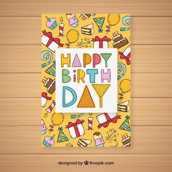 Kolorowe ręcznie rysowane urodziny karty