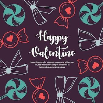 Kolorowe ręcznie rysowane wzór valentine