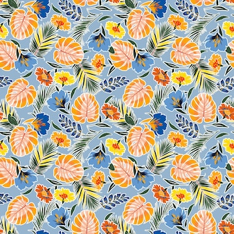 Kolorowe ręcznie rysowane wzór z liści, kwiatów, tropikalnej monstera, liści.