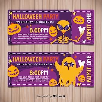 Kolorowe ręcznie rysowane zestaw halloween party bilety