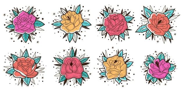 Kolorowe róże vintage zestaw ilustracji