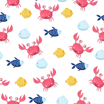 Kolorowe ryby morskie kreskówka wektor wzór