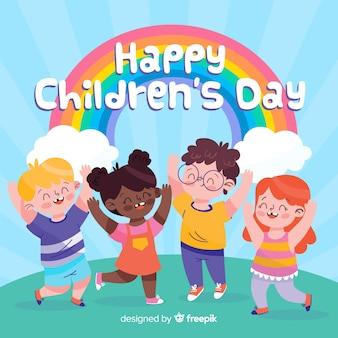 Kolorowe rysowane na międzynarodowy dzień dziecka