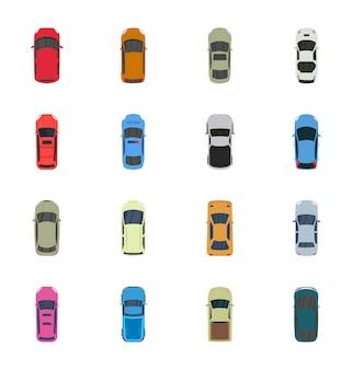 Kolorowe samochody widok z góry wektor