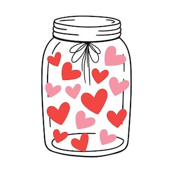 Kolorowe serca w szklanym słoju ręcznie rysowana ilustracja do romantycznych wydruków karta walentynkowa