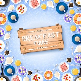 Kolorowe śniadanie koncepcja z smacznymi deserami omlet z jagodami i gorącymi napojami na jasnej ilustracji