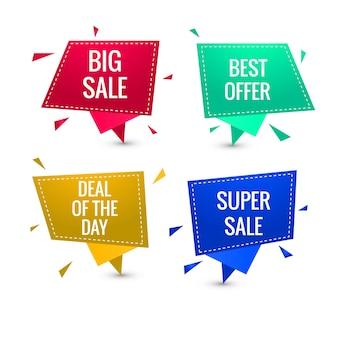 Kolorowe sprzedaży transparent wektor zestaw