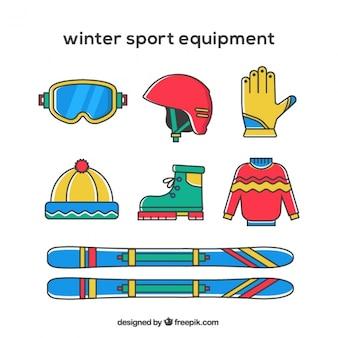 Kolorowe sprzętu sportowego zimą