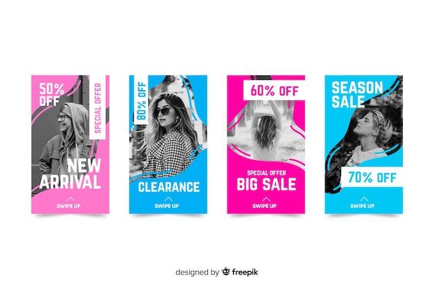 Kolorowe streszczenie sprzedaż instagram historie ze zdjęciem