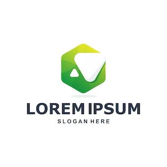 Kolorowe streszczenie sześciokątne logo premium