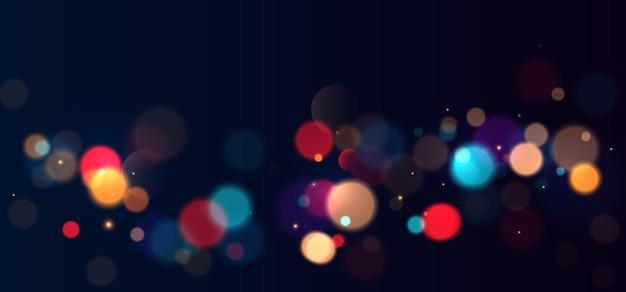 Kolorowe światła bokeh tło niewyraźne koło kształtuje ilustrację wektorową