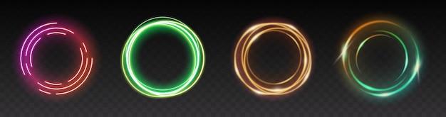 Kolorowe świecące koła, efekty świetlne z przezroczystością na przezroczystym tle. świecący pierścień, gwiazda z flarą, wir i eksplozja. ilustracja wektorowa