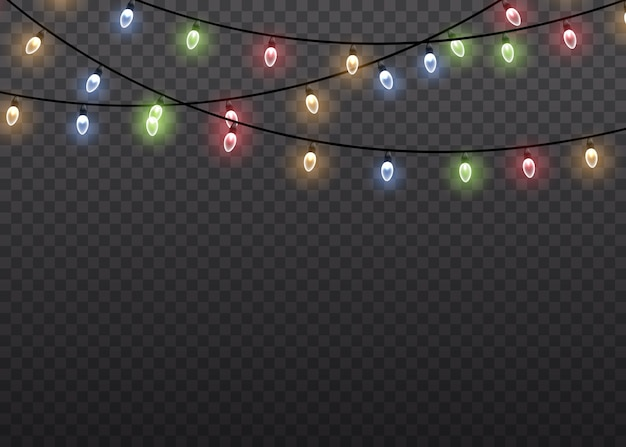Kolorowe świecące światło lampy na sznurkach drutu na białym tle przezroczyste tło. ozdoby wianek. lampki choinkowe na białym tle realistyczne elementy projektu. świąteczna girlanda świecąca. ilustracja.
