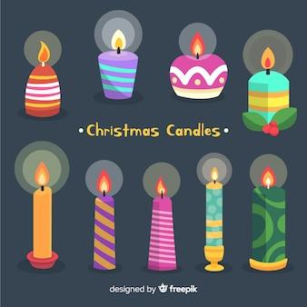 Kolorowe świece świąteczne kolekcji