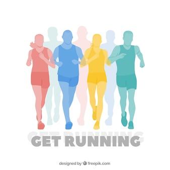 Kolorowe sylwetki biegaczy tle