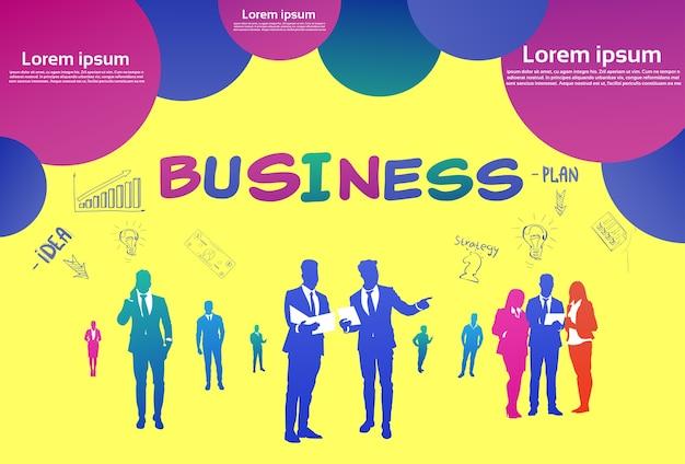 Kolorowe sylwetki ludzi biznesu