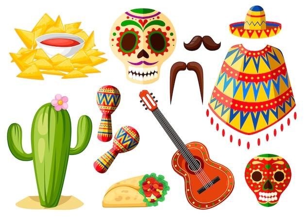 Kolorowe symbole meksyku. zestaw ikon meksykańskich. tradycyjne łacińskie symbole pochodzenia etnicznego. styl. ilustracja na białym tle