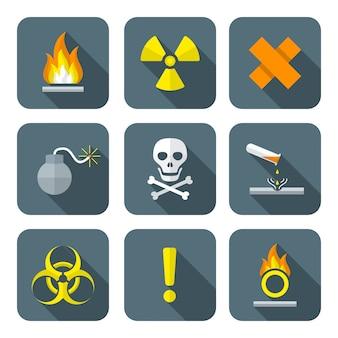 Kolorowe symbole płaskie symbole odpadów niebezpiecznych ostrzeżenie ikony
