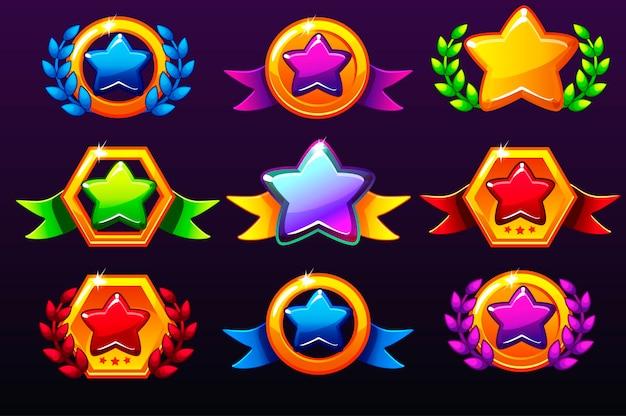 Kolorowe szablony gwiazd ikony dla nagród