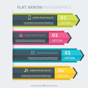 Kolorowe szablony infographic płaskim strzałek